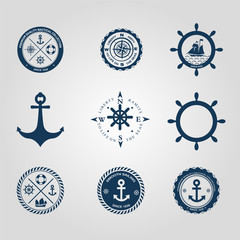 Set of nautical labels icons logo symbol