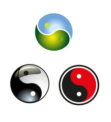 set of yin-yang circle vector icon download