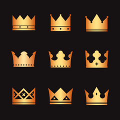 gold vector crowns on black background