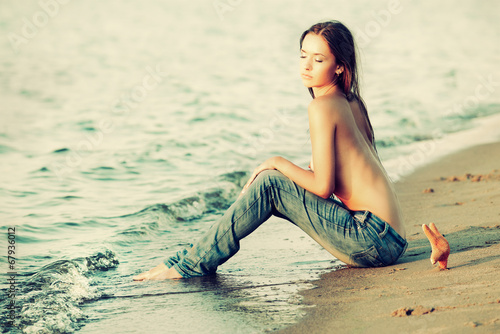 canvas print picture Woman on beach