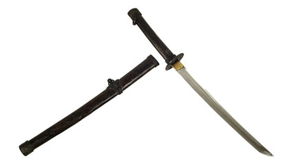ancient Samurai sword isolate