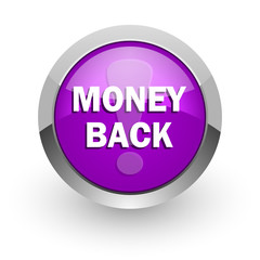 money back pink glossy web icon