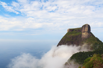 Peak Mountain Pedra da Gavea in clouds sky sea ocean, Rio de Jan