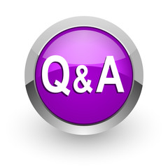 question answer pink glossy web icon