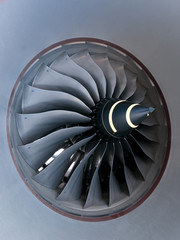 Close-up of jet engine