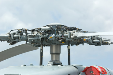Rotor head of military helicopter