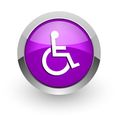 wheelchair pink glossy web icon