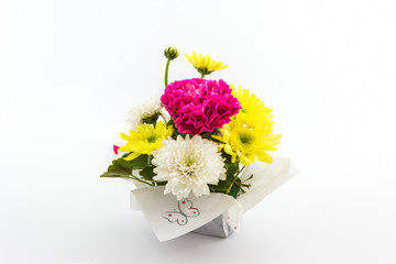 Carnation and chrysanthemum flower in vase.