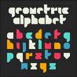 Geometric alphabet. Font design.