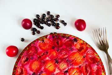 plam pie, berries and fruits