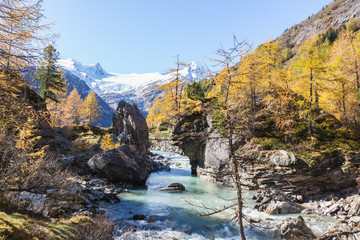 Rapid River in autumn alp landscape