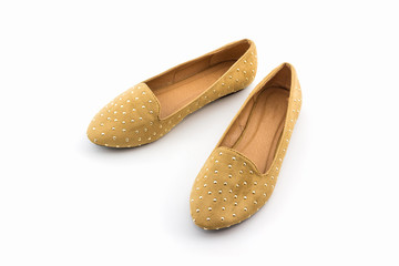 Brown flat shoes.