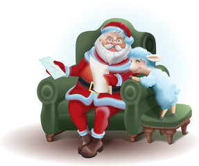 Santa Claus sits in a chair and reading a letter sheep