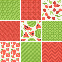 Seamless vector patterns set - summer berries backgrounds
