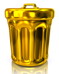 Golden  trash can icon