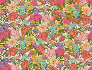 Vector floral patterns with birds and flowers