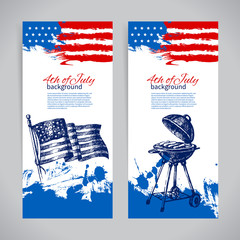 Banners of 4th July backgrounds with American flag.