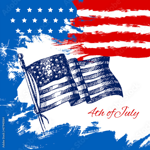 4th of July background with American flag.