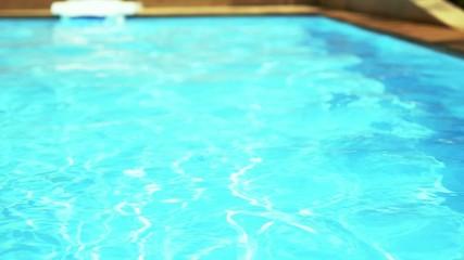 Swimming Pool Water. Slow Motion.