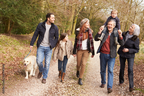 Multi Generation Family On Countryside Walk