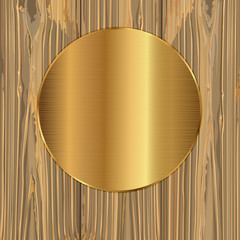 Gold circle on a planks