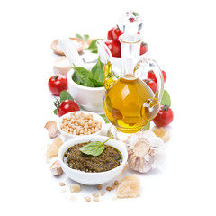 Italian pesto sauce and ingredients, isolated