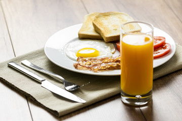 Tasty English Breakfast And Orange Juice