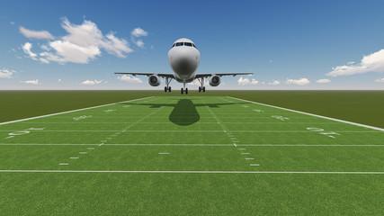 plane landing on ragby field