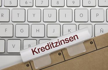 kreditzinsen. Tastatur