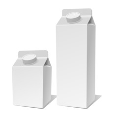 Paper Milk Product Tetra Pack Container Set. Vector
