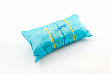 Blue pillow.