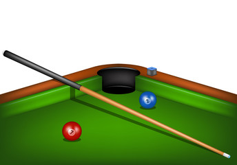 Billiard table with billiard cue, chalk and billiard balls