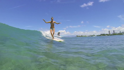 Slow Motion Surfer Girl Riding Wave