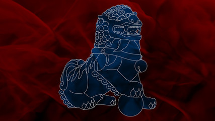 China - Komainu - Blue & Red