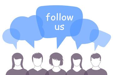 Menschen Sprechblase follow us