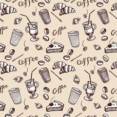 Vintage seamless pattern of coffee