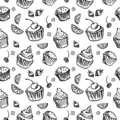 Seamless pattern sketch cupcake