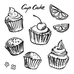 Black and white sketch cupcake set