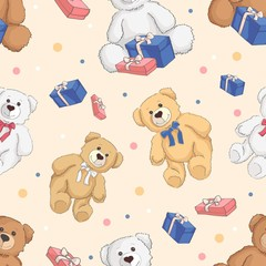 teddy bear color seamless background.