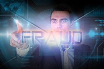 Businessman presenting the word fraud