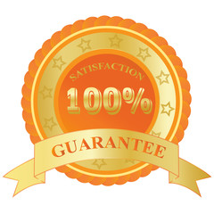 100%, Satisfaction, Guarantee, badge, orange