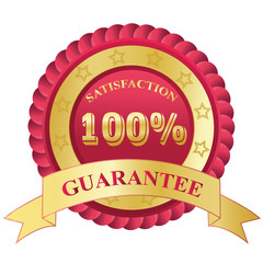 100%, Satisfaction, Guarantee, badge, red