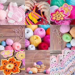 collage of  kniting objects