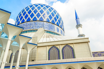 Blue Mosque in Shah Alam, Malaysia at summer.
