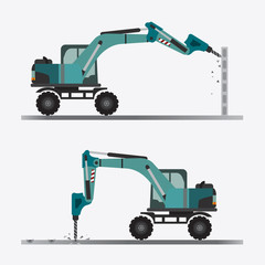 Vector of Backhoe Drilling