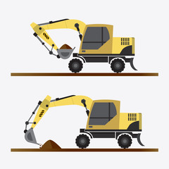 Vector of Backhoe