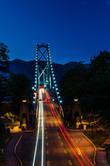 Lions Gate Bridge at Night with Light Trails