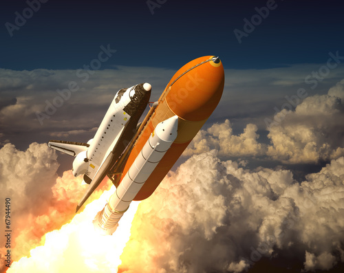 Foto op Plexiglas Ruimtelijk Space Shuttle In The Clouds