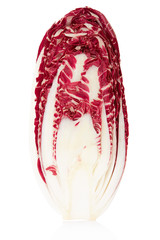 Radicchio section, red salad on white, clipping path