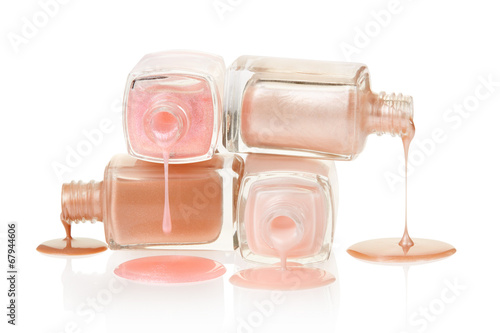 Plagát, Obraz Pink nail polish spilled on white, clipping path